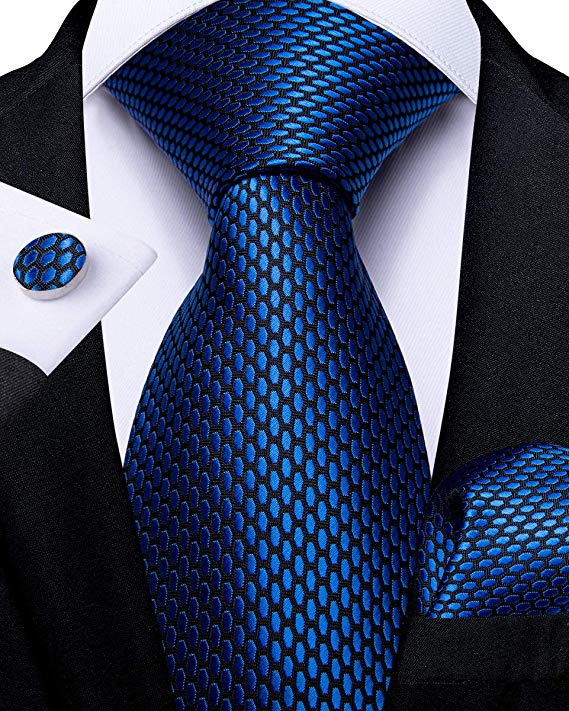 Blue and Black Silk Necktie Set-DBG515