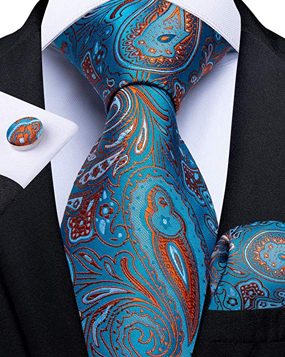 Blue Orange Paisley Necktie Set-DBG533