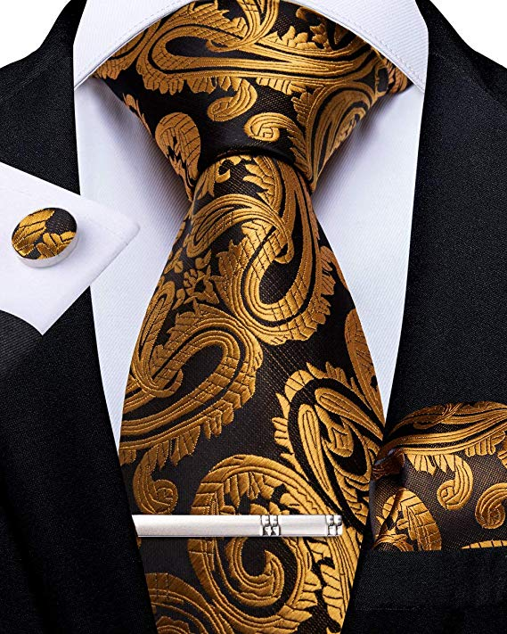 Copper and Brown Silk Necktie Set-DBG527