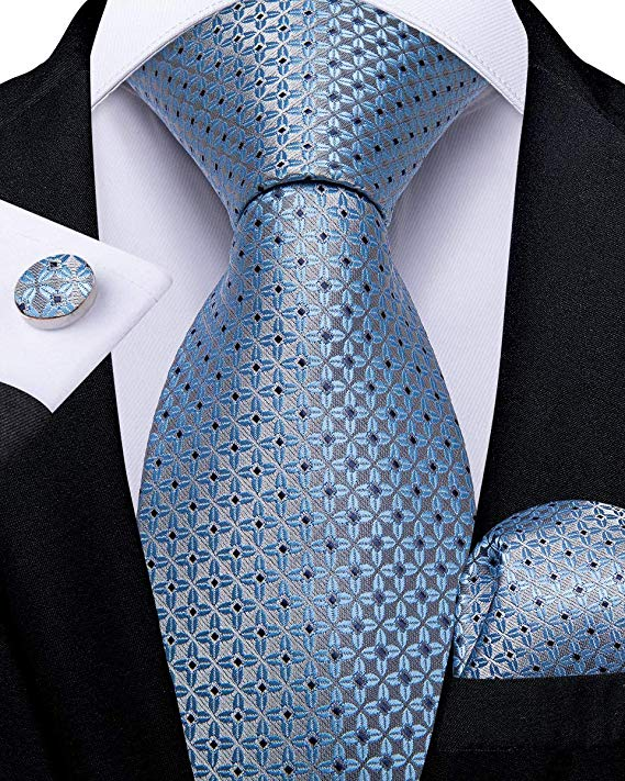 Light Blue Silk Necktie Set-DBG545