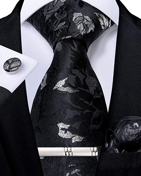 Black and Silver Silk Necktie Set- DBG548