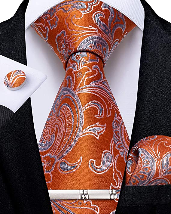 Orange and Grey Silk Necktie Set-DBG552