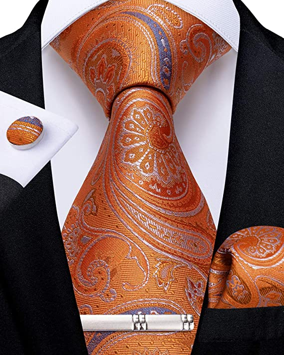 Orange and Blue Silk Necktie Set-DBG554