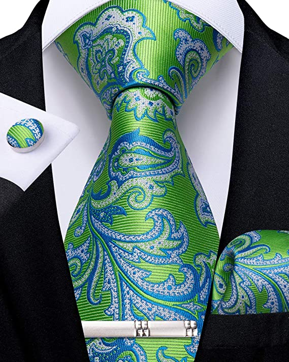 Green and Blue Paisley Necktie Set-DBG555