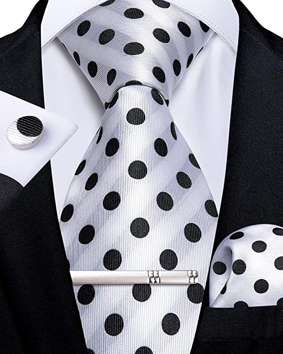 Polka Dot Silk Necktie Set-DBG604