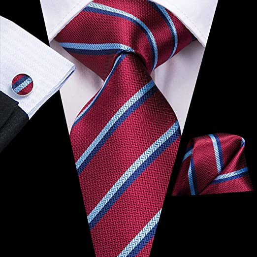 Red Blue and Lt. Blue Striped Necktie Set-DUB572