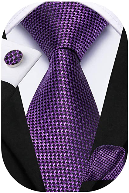 Purple and Black Silk Necktie Set-DUB580