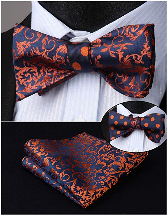 Rust Orange and Navy Blue Double Sided Bow Tie Set-ENM105