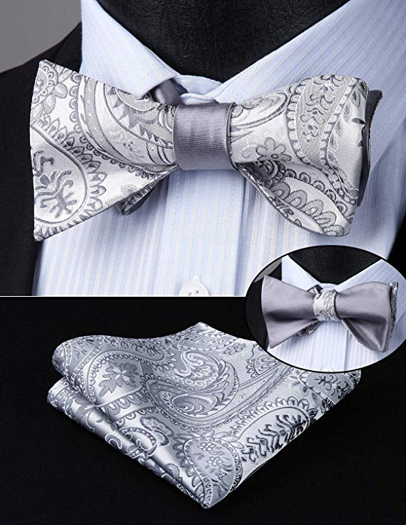 Silver and Gray Double Sided Bow Tie Set-ENM107