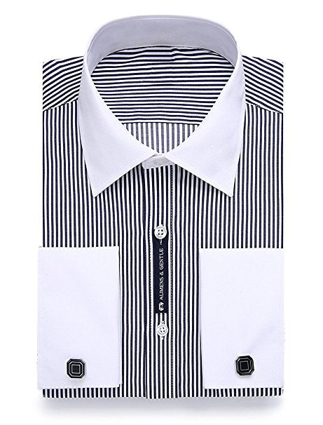 Black Stripe French Cuff Dress Shirt FCDS71