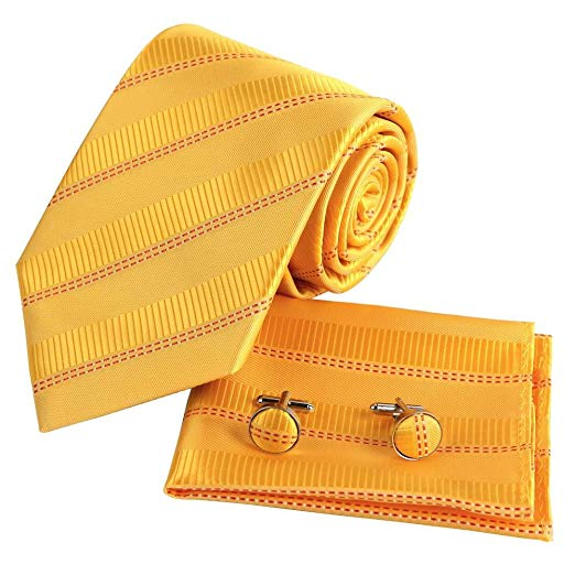 Yellow Silk Necktie Set FE1005