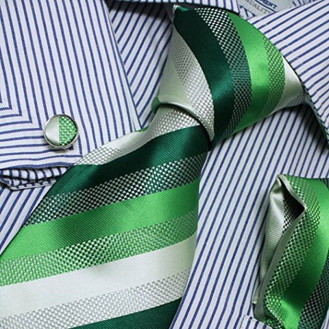 3PC Silk Green White and  Sea Green Necktie Set FE1006
