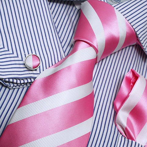 3PC Pink and White Stripe Necktie Set FE1012