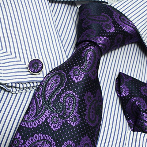 3PC Purple Black Silk Paisley Necktie Set FE1013