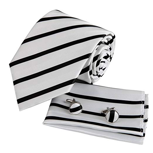 Black White Striped Necktie Set FE1033