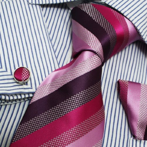 3PC Multicolor Stripe Silk Necktie Set FE1020