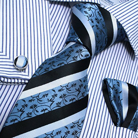 3PC Blue Black Silver Tie Set FE1028