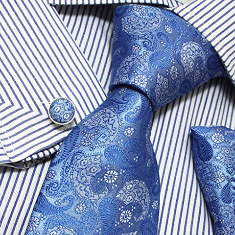 3PC Blue and Grey Paisley Silk Necktie Set FE1031