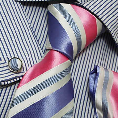 3PC Pink White Medium Purple Silk Tie Set FE1036