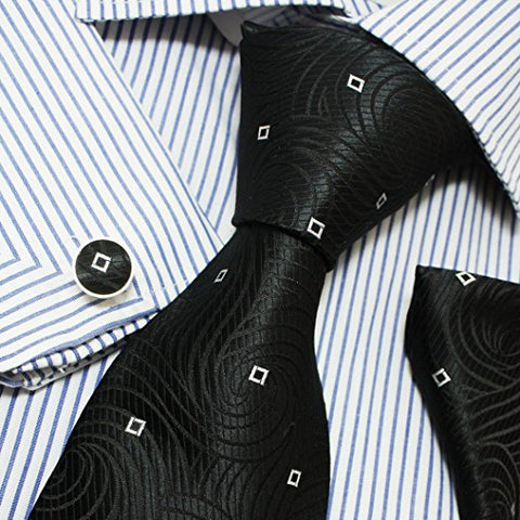 3PC Black White Silk Necktie Set FE1037