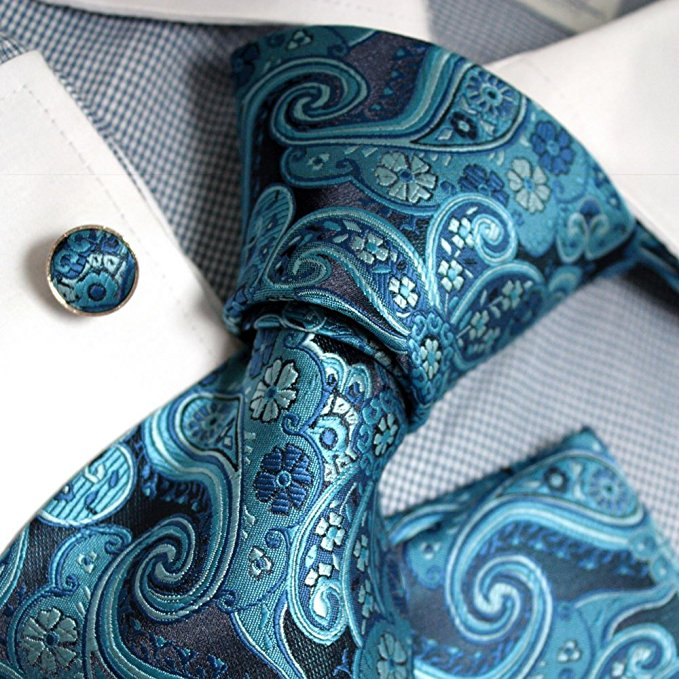 Multi Color Blue Silk Paisley Necktie Set FE1063