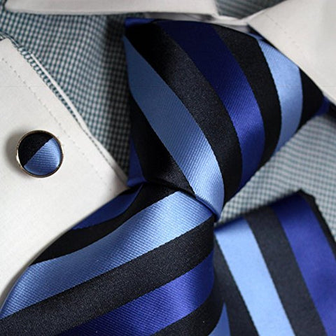 3PC Blue Black Lt.Blue Tie Set FE1066
