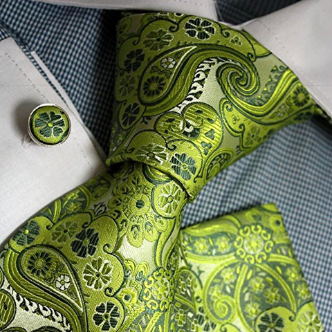3PC Lime Green Silk Paisley Necktie Set FE1072
