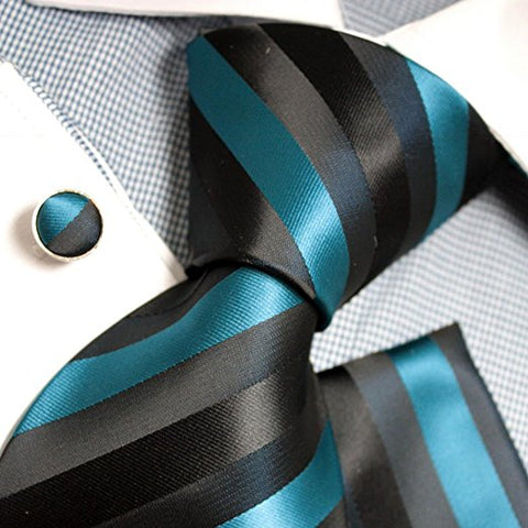 3PC Black and Teal Stripe Necktie Set FE1074