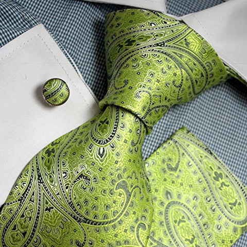 3PC Mens Silk Lime Green Paisley Tie Set FE1075