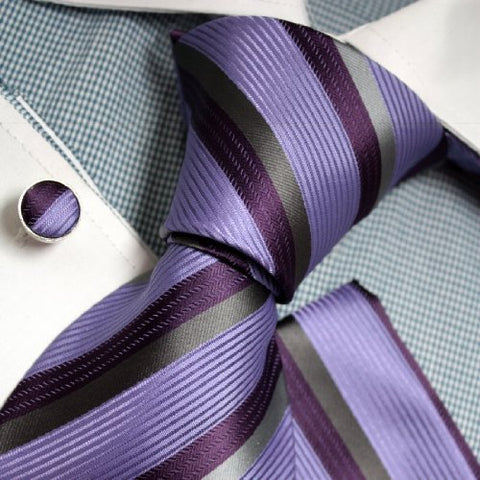 3PC Purple Grey Lavender Silk Necktie Set FE1081