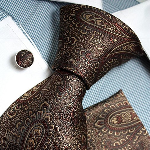 3PC Brown Paisley Silk Tie Set FE1082