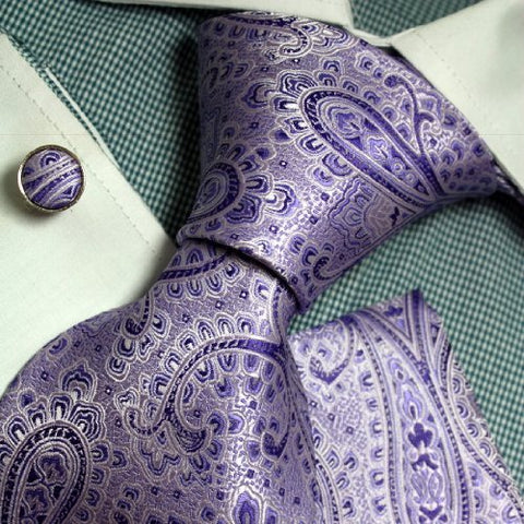 3PC Lavender Silk Necktie Set FE1085