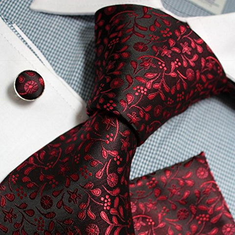 3PC Silk Black and Red Floral Paisley FE1087