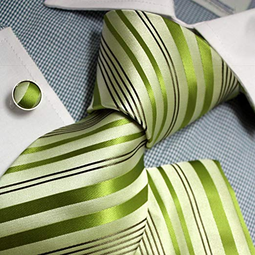 Green Striped Silk Necktie Set FE1097
