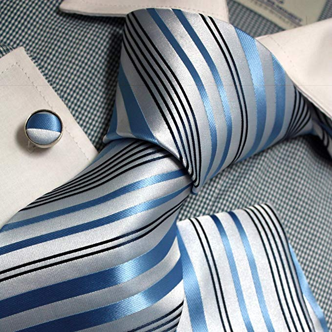 Lt.Blue and White Striped Necktie Set FE1098