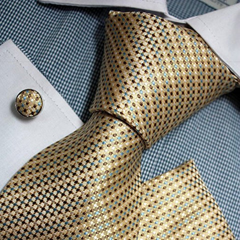 3PC Beige Blue Brown Check Silk Necktie Set FE1103