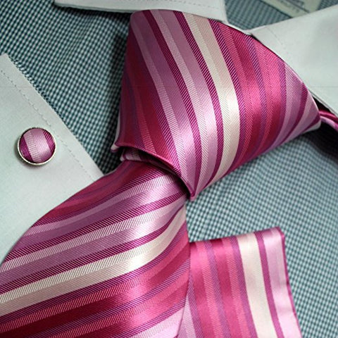 3PC Fuchsia Pink White Necktie Set FE1104