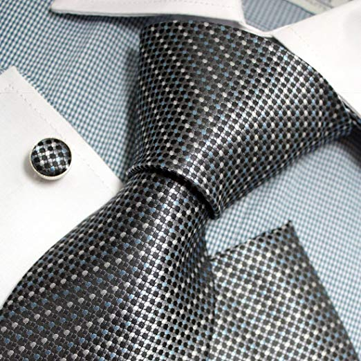 Blue White Gray Silk Tie Set FE1105-Free Shipping