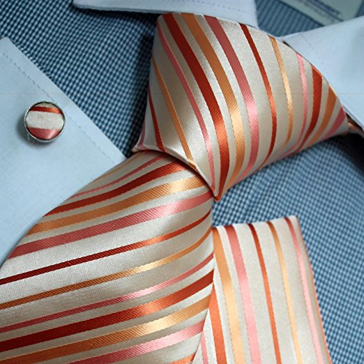 3PC Beige and Orange Silk Necktie Set FE1107