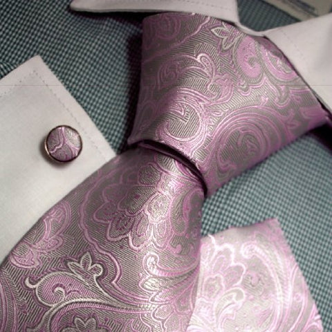 3PC Silk Grey and Pink Paisely Neckie Set FE1112