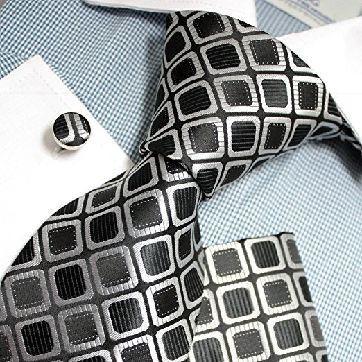 3PC Black Gray Silk Necktie Set FE1127