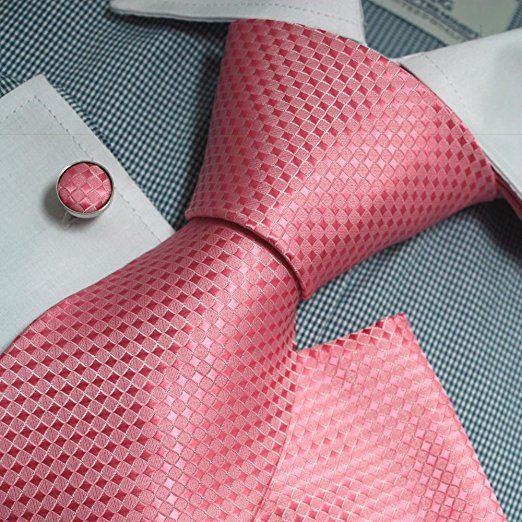 3PC Pink Silk Necktie Set FE1131
