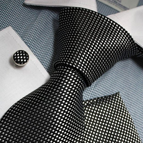 3PC Silk Black and Silver Necktie Set FE1139