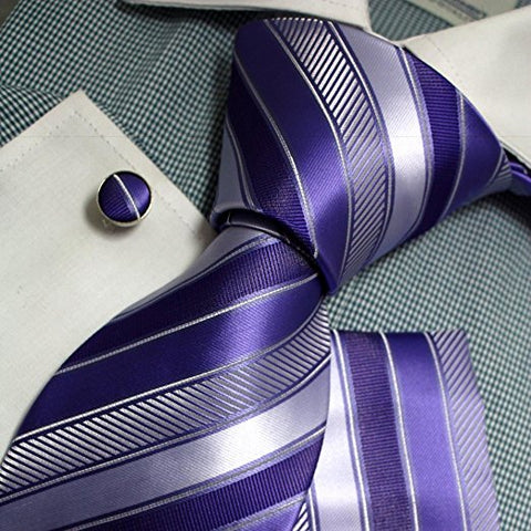 3PC Purple Silk Necktie Set FE1140