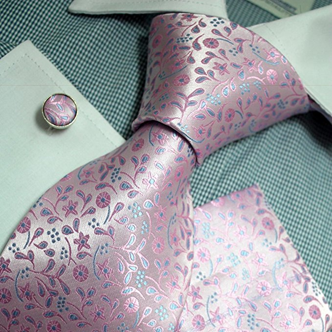 Pink and Blue Floral Necktie Set FE1143