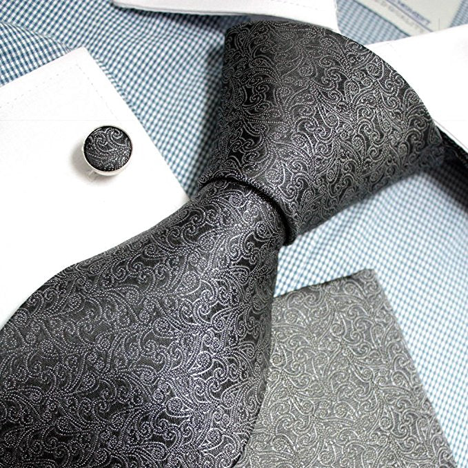 Steel Grey SilkNecktie Set FE1144