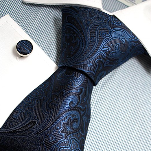 3PC Blue and Black Silk Paisley Tie Set FE1145