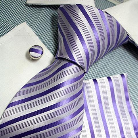3PC Purple and Grey Silk Necktie Set FE1149