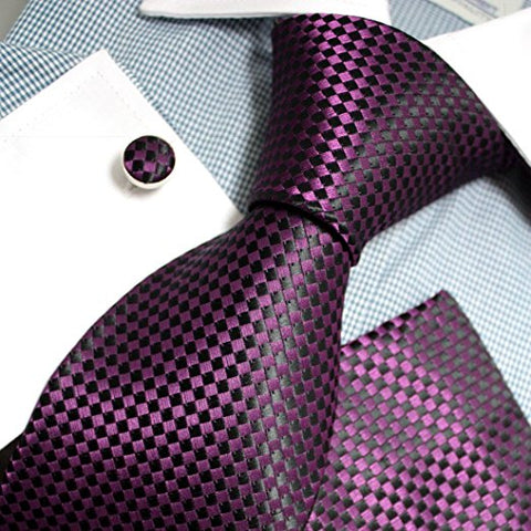 3PC Purple and Black Checker Necktie Set FE1150