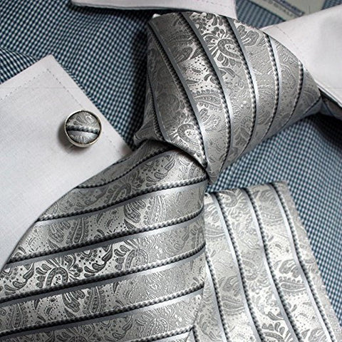 3PC Grey Paisley Stripe Necktie Set FE1152
